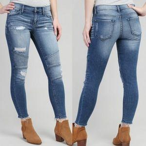 KanCan Moto Distressed Skinny Jeans Size 26